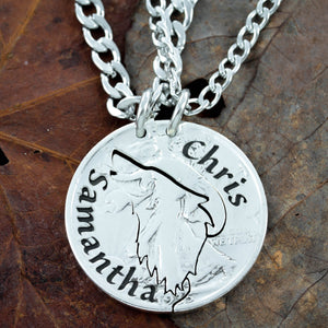 Howling Lone Wolf Necklace with Names Engraved, Friendship gifts, Wolves, Interlocking Puzzle Necklaces, Best Friends Forever, hand cut coin