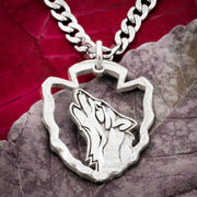 Howling Wolf Arrowhead Necklace, Hand cut coin