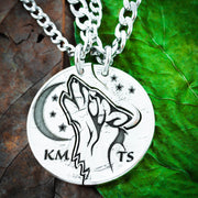 Howling Wolf and Moon Couples necklaces with Initials