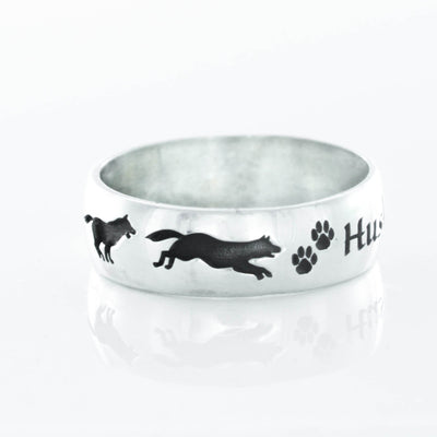 Silver Wolf Name Ring, Wolf Paw Prints, Running wolves with custom name