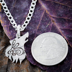Wolf with bunny engraved Necklace, Boyfriend or Girlfriend gift, hand cut coin