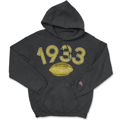 1933 Pittsburgh Football Founding Year Hoodie - Streaker Sports