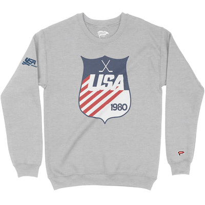 1980 USA Hockey Shield Crewneck Sweatshirt - Streaker Sports