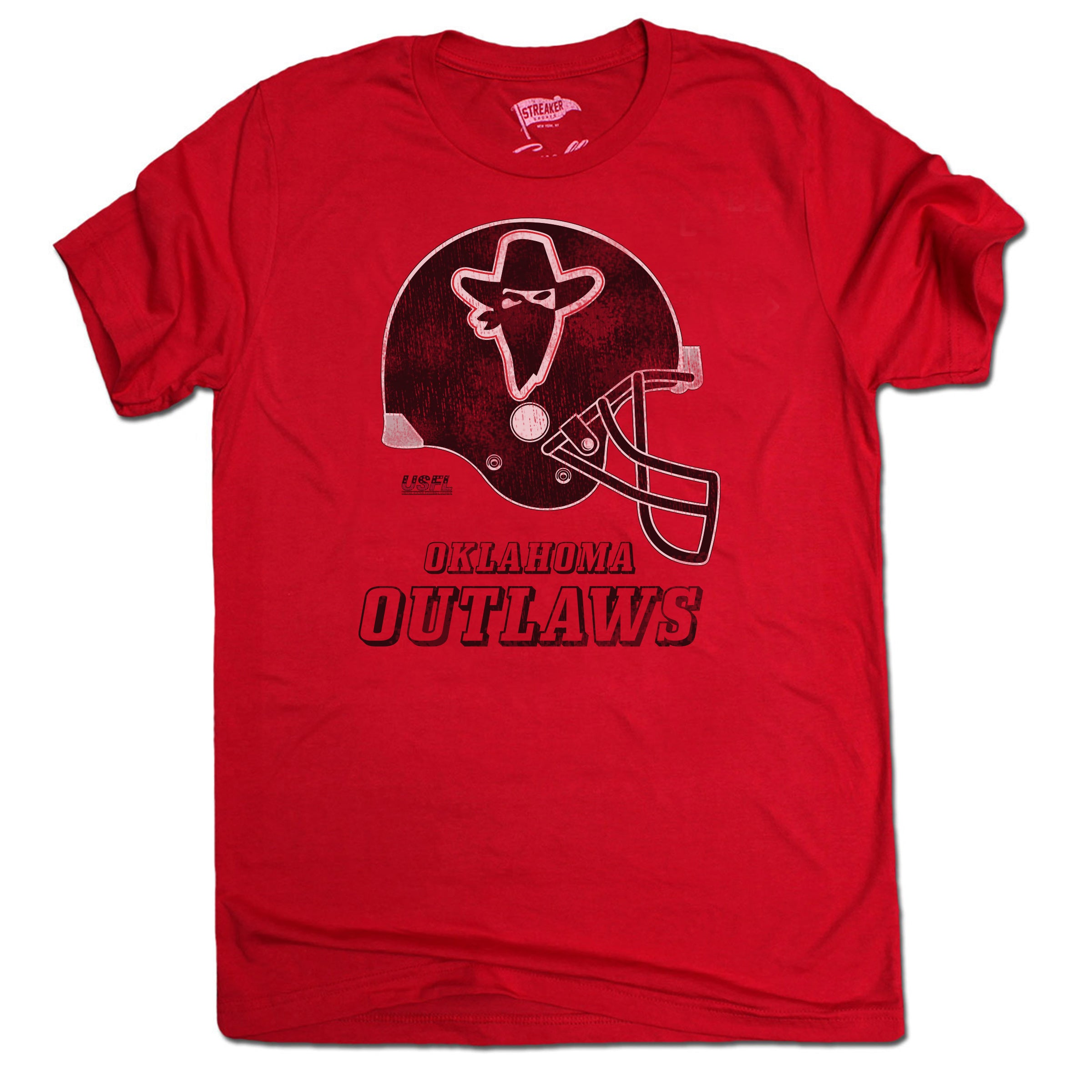 1984 Oklahoma Outlaws Helmet Tee - Streaker Sports