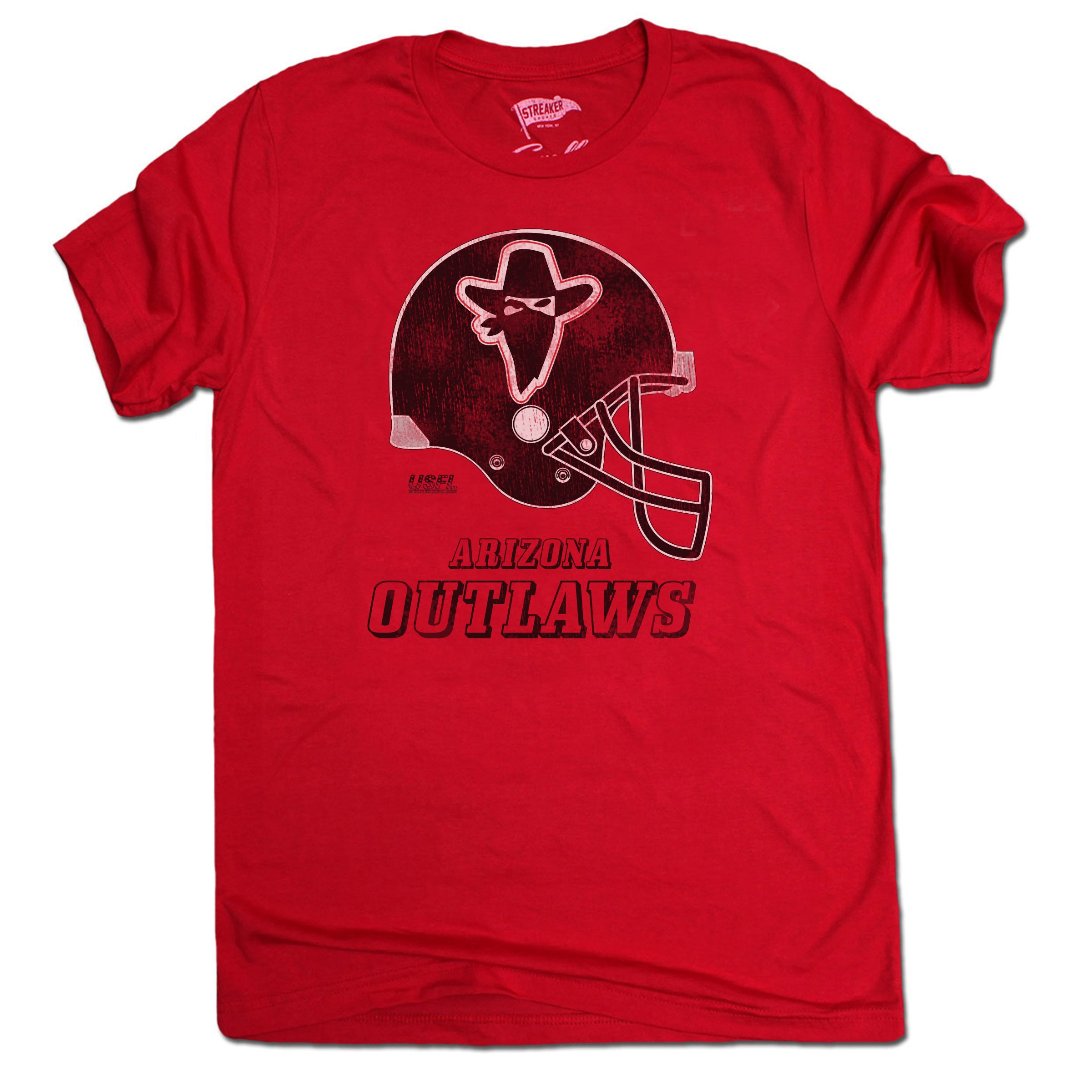 1985 Arizona Outlaws Helmet Tee - Streaker Sports