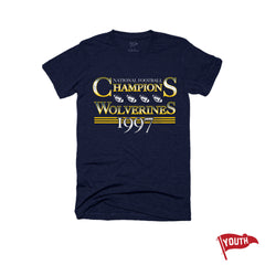 1997 Wolverines National Champs Youth Football Tee - Streaker Sports