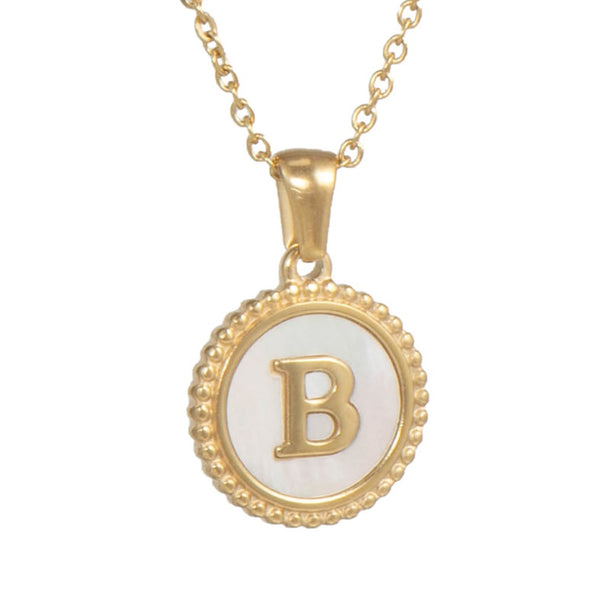 Mother Pearl Initial Necklace