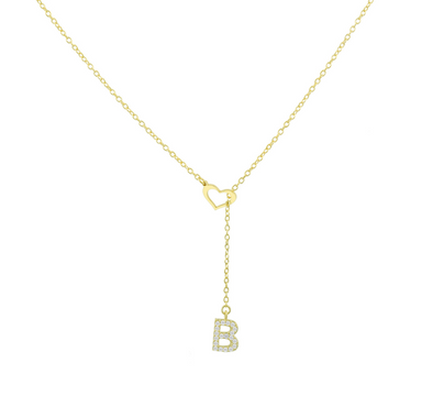 Pave Initial Heart Necklace