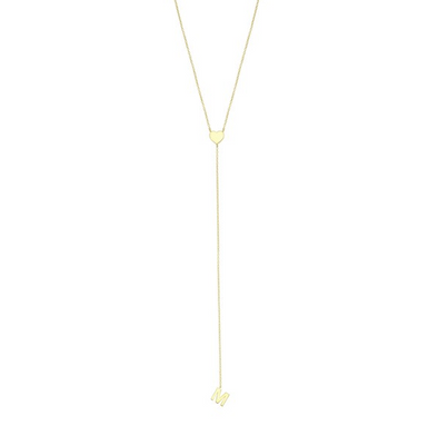 Initial Line & Heart Lariat Necklace
