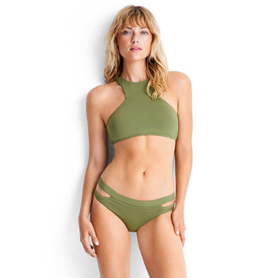 Seafolly - Active High Neck Tank Top / Split Band Bottom Bikini - Moss