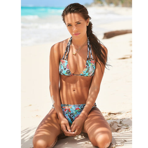 Malai - Dark Tropicalia Triangle Top / Cutout Bottom Bikini