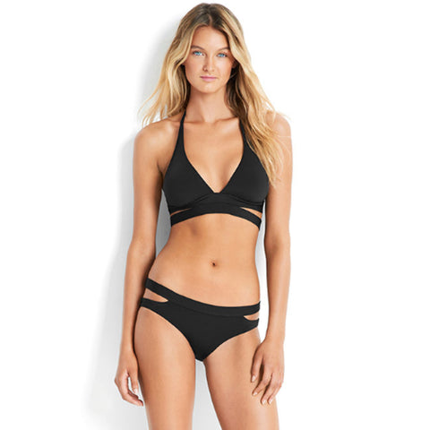 Seafolly - Active Swim Halter / Active Swim Split Band Hipster Bottom Bikini - Black
