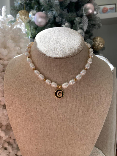 Coin Pearl Initial Necklace