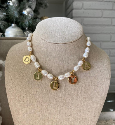 Coin Pearl Name Necklace