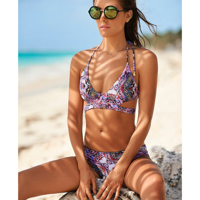 Malai - Pixel Piton Crossed Back Top / Ruched Bottom Bikini