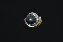 Tahitian Pearl and Diamond Swirl Ring
