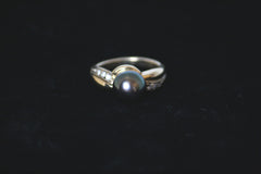 Tahitian Pearl and Diamond Wave Ring