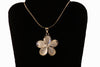 Sterling Silver White Plumeria Necklace-Large