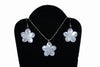 Small Mother of Pearl Plumeria Necklace and Earrings Set