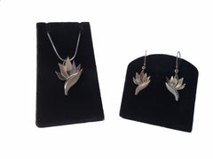 14K White Gold Bird of Paradise Necklace and Earring Set