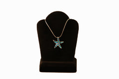 Blue Opal Pointed Starfish Necklace