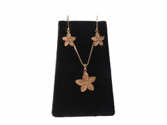 14K Gold Plumeria Necklace and Earring Set