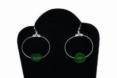 Green Sea Glass Dangling Earrings
