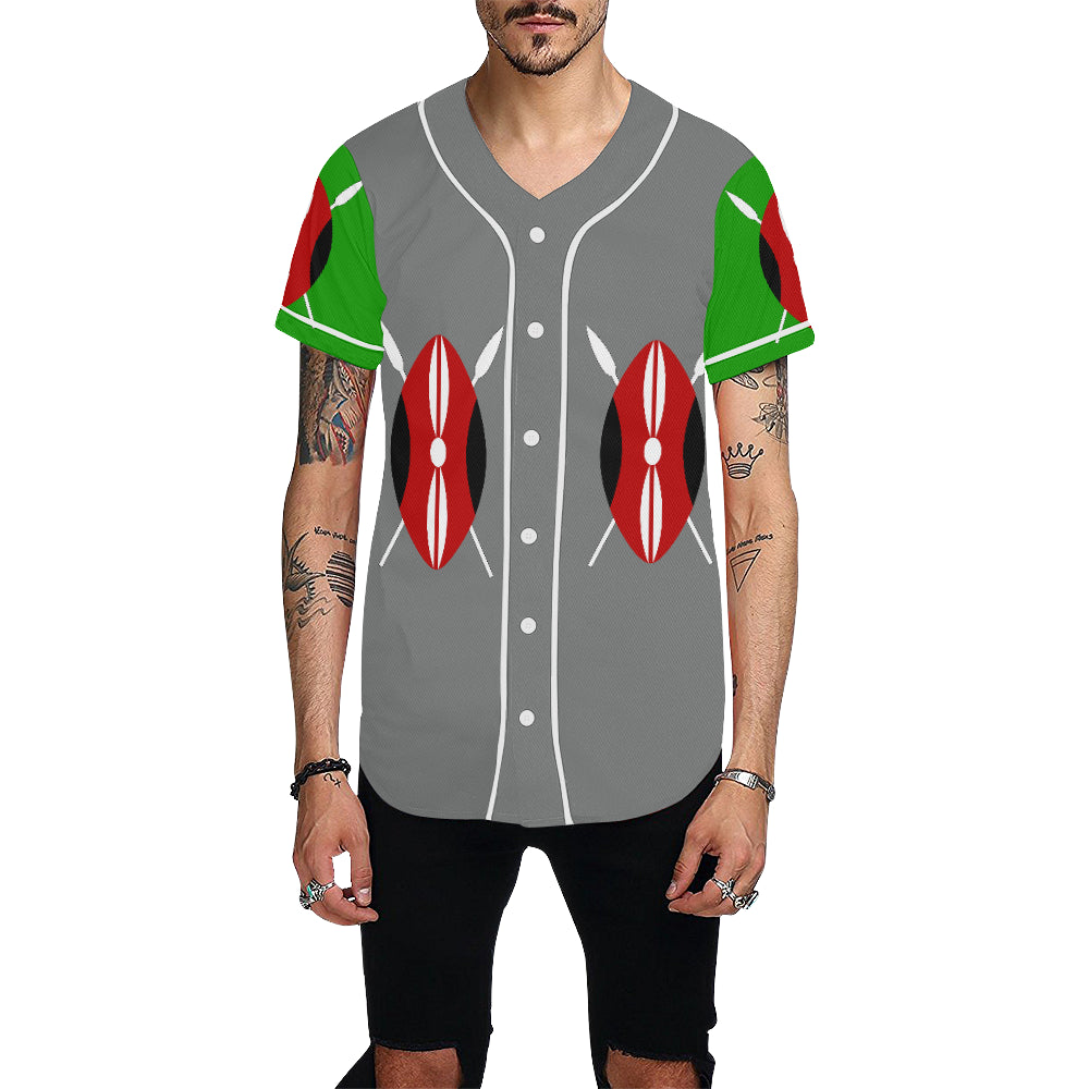 Kenya Bred Rule+Defend Shield Grey Baseball Jersey for Men