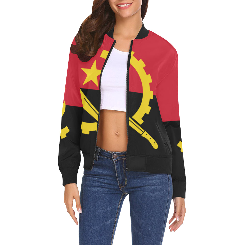 Angola Born All Over Print Bomber Jacket for Women