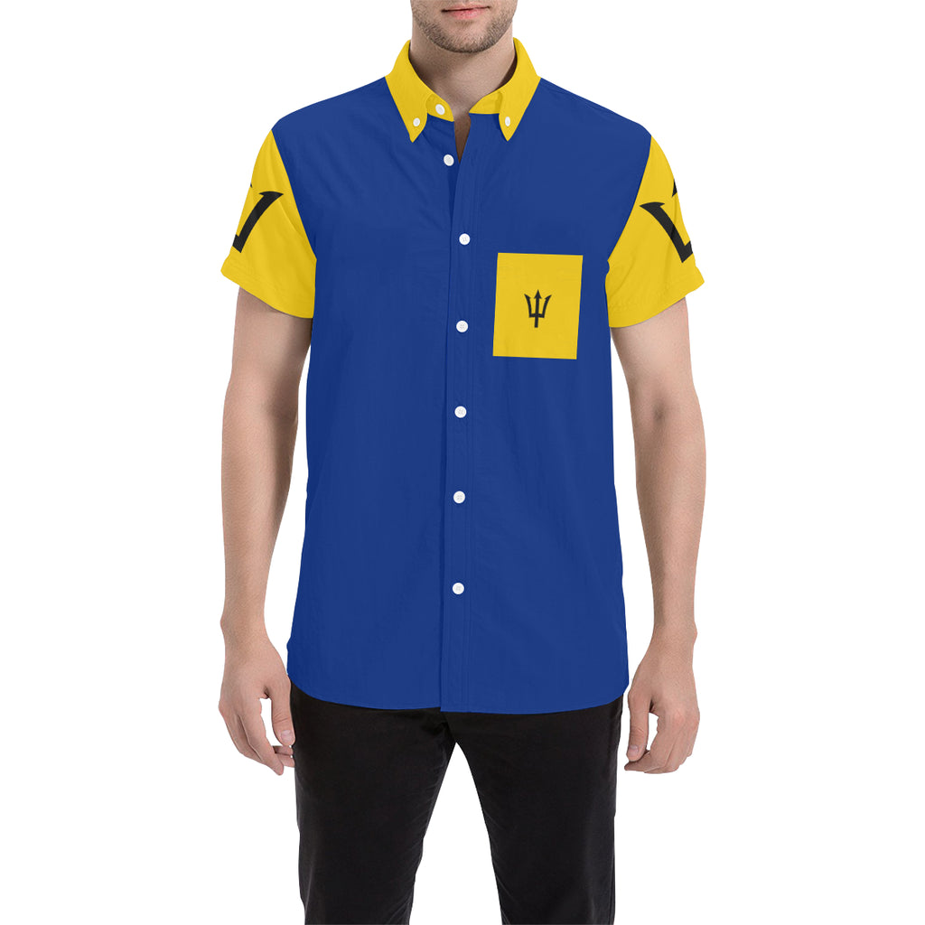 Barbados Born Badge Men's  Short Sleeve Shirt