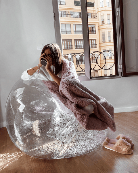 Inflatable Silver Glitter Chair