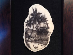Island Style Scrimshaw in Shadow Box