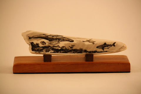 Fossilized Walrus Ivory Carving of Hawaiian Reef Scene