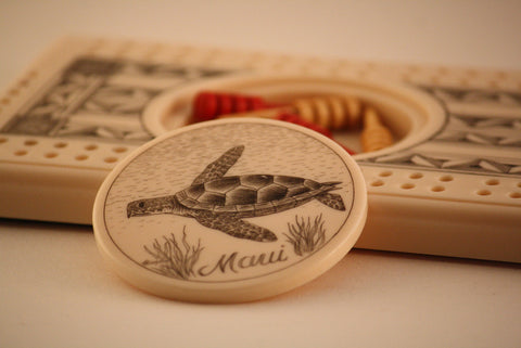 Cribbage Game with Sea Turtle Carving
