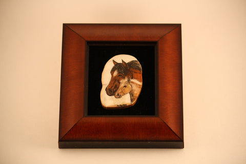Shadow Box of Horse and Foal Busts