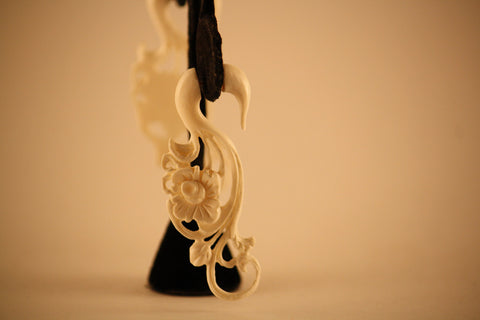 Elegantly Carved Bone Earrings- Rosebud