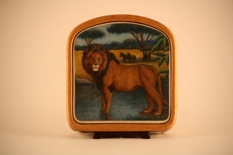 Full Color Lion Scene in Wood Frame