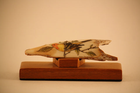Fossilized Ivory Piece with Western Songbird