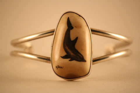 Sterling Silver and Fossilized Walrus Ivory Bracelet