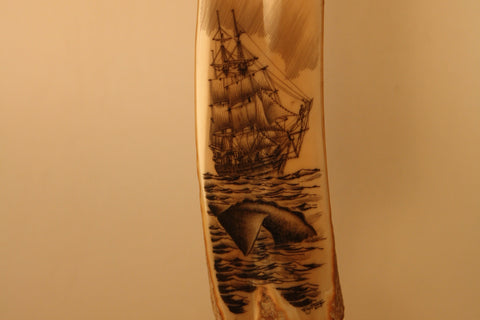 Fossil Walrus Ivory with Whaling Ship and Whale Tail Scrimshaw