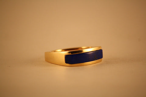 Gold Square Ring with Blue Lapis