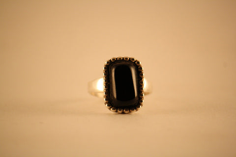 Pat Rader Ring: Sterling Silver and Black Coral