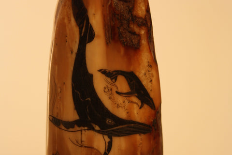 Pair of Whales on Fossil Walrus Ivory