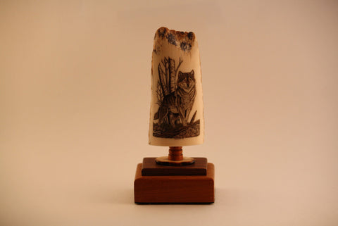 Fossilized Walrus Ivory Carved Wolf