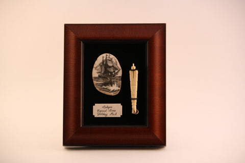 Shadow Box of Ivory Carved Ship with Antique Bone Folding Pick