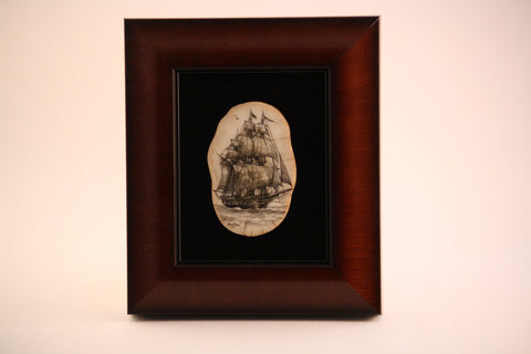 Shadow Box of Ivory Carved Whaling Ship