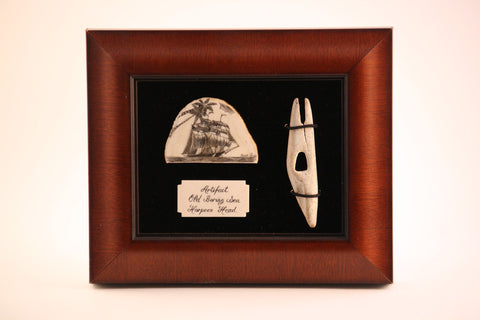 Shadow Box of Walrus Ivory Carved Ship with Harpoon Head