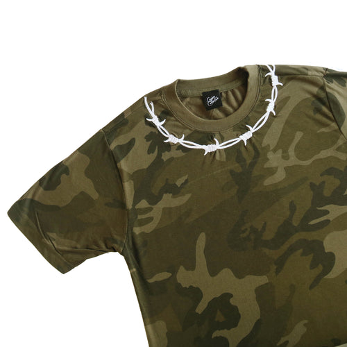 Barbed Wire Embroidered Camo T-shirt