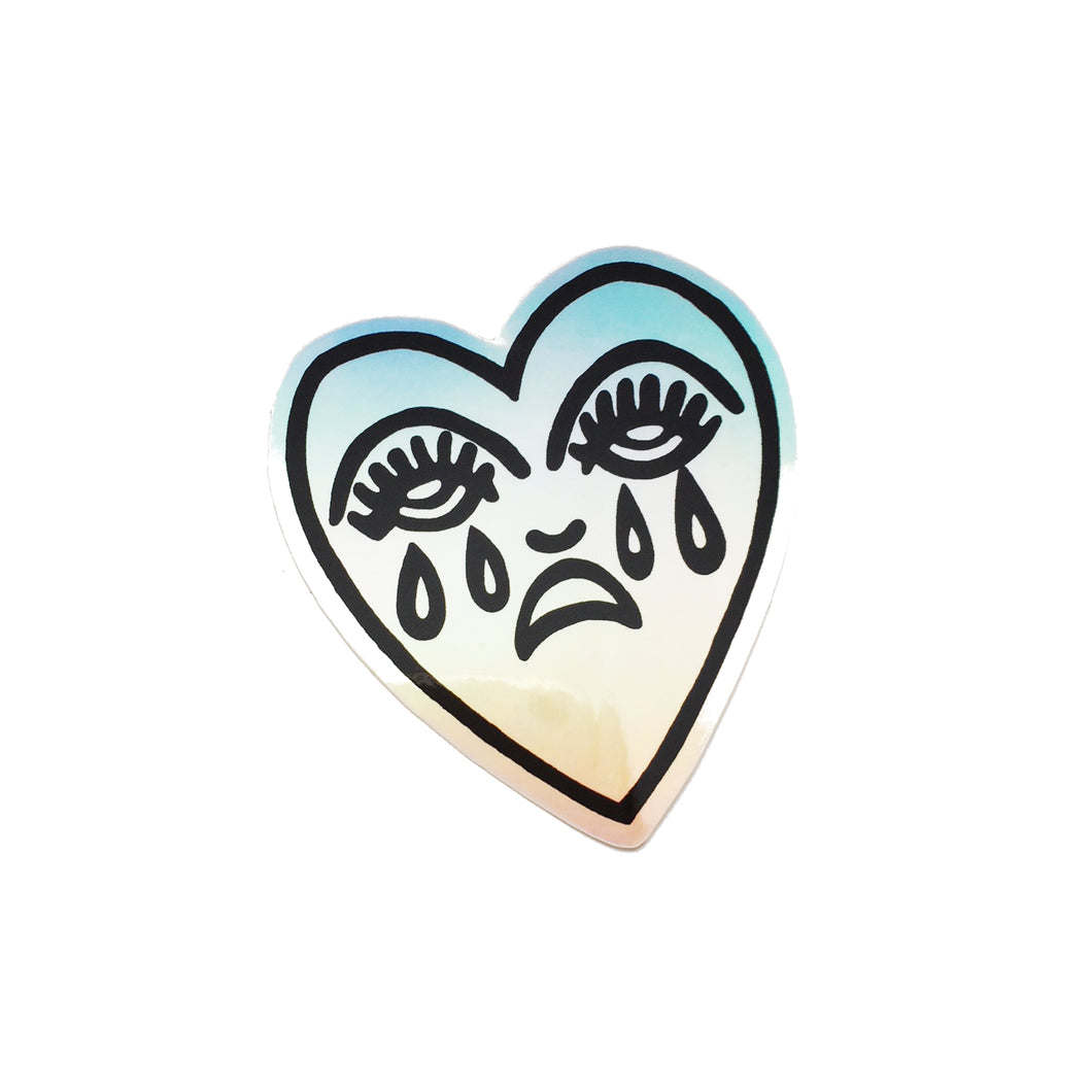Crying Heart Holographic Sticker