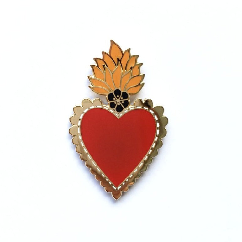 Mexican Sacred Heart Pin - Red